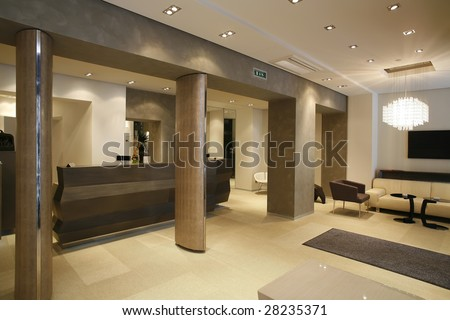 Contemporary Interior Of Public Toilet Stock Photo