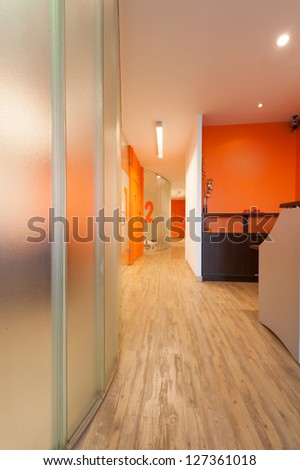 Reception area and corridor of a modern dental clinic