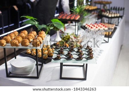 Reception at special occasion, sweet canapés and etc. Photo stock ©