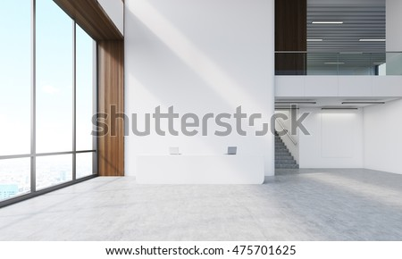 Reception counter with two laptops, wooden walls, stairs and hallway. Concept of recruting agency interior. 3d rendering. Mock up