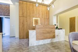 Reception desk, hotel reception interior