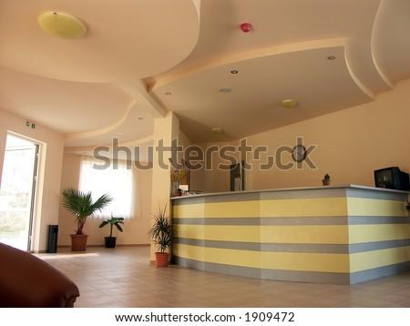 Reception desk in small hotel