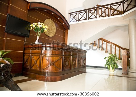 Reception desk in small hotel