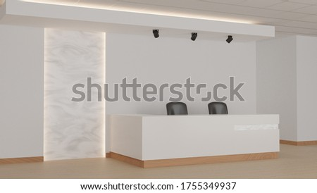 Reception in an office with light marble wall elements. 3d rendering, mock up.