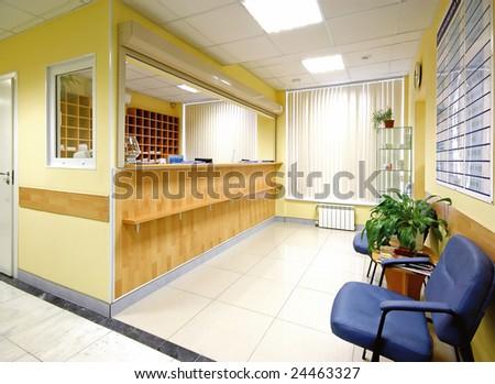 reception in hospital - stock photo