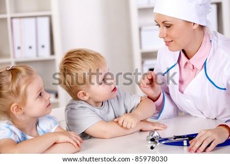 reception of children in pediatric - stock photo