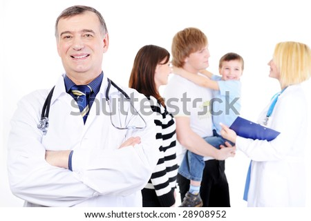 reception of young family with child in hospital
