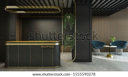 Reception shop design Modern & Loft Gold counter top,Black counter,Gold metal light pendant,Monitor on wood lath,Furniture waiting zone granite stone floor,Floor concrete  - 3D render
