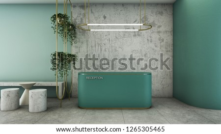 Reception shop design Modern & Loft Green counter,Gold metal light pendant, Wall green pastel color,Wall concrete,Furniture waiting zone concrete,Floor concrete  - 3D render