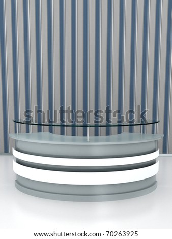 Reception table on white floor. Computer generated image