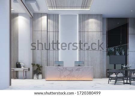 Reception waiting area lobby with wall decorate sales gallery on white marble floor and table with chair 3d rendering Zdjęcia stock ©