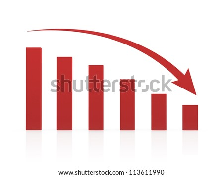 Recession chart and red arrow, isolated on white background.