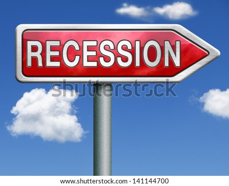 recession crisis bank and stock crash economic and financial bank recession market crash red road sign arrow