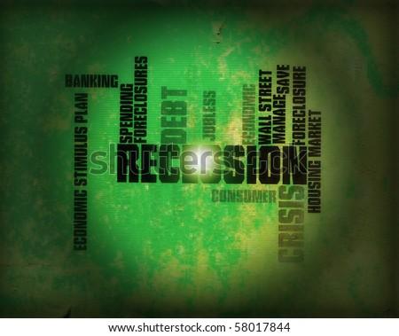 recession illustration - stock photo