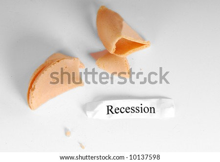 Recession written  on fortune inside chinese cookie