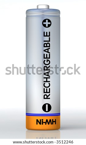 Rechargeable battery on the ground and isolated on white. Clipping path included in JPG!