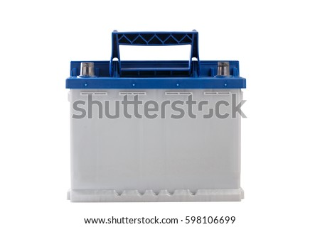 Rechargeable  car battery isolated on white background. #598106699