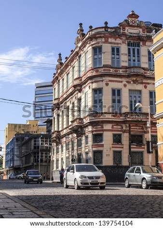 RECIFE, BRAZIL - JULY 17: The colonial architecture of the historical part of Recife, the capital of Pernambuco region in Brazil on July 17, 2012.