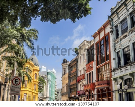 RECIFE, BRAZIL - JULY 17, 2012: The colonial architecture  on Bom Jesus Street in the historical old town of Recife, the capital of Pernambuco region in Brazil, on a sunny day. Landscape orientation.