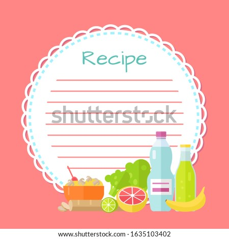 Recipe empty round list decorated by bottles of drink, bowl with mushrooms, lime and orange, green and banana flat design style, pink cookbook raster