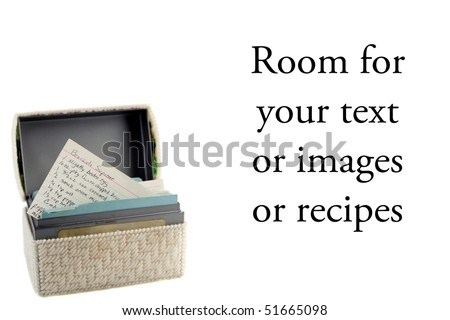 Recipe file isolated on white with room for your text or images