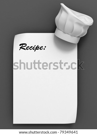 recipe template - chef hat on the blank paper sheet