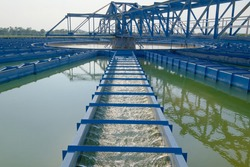 Recirculation Solid contact Clarifier Sedimentation Tank Effluent view in Afternoon