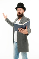 Recite verses. Poet or writer. Author of novel. Inspired bearded man read book. Poetry reading. Book presentation. Literature teacher. Books shop. Guy classic outfit read book. Literary criticism.