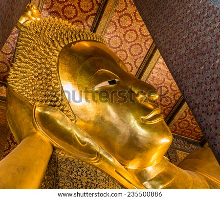 Reclining Buddha gold statue ,Wat Pho, Bangkok, Thailand, They are public domain or treasure of Buddhism, no restrict in copy or use