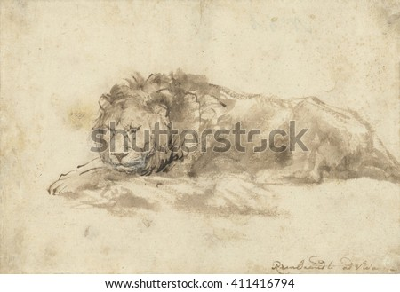 Reclining Lion, by Rembrandt van Rijn, c. 1650-59, Dutch drawing, pen and ink, wash, on paper. Rembrandt made drawings of lions in his sketch books for later use in paintings