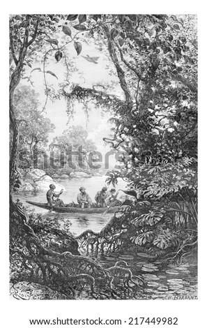 Reconnaissance at the Entrance of a Creek in Oiapoque, Brazil, drawing by Riou from a sketch by Dr. Crevaux, vintage engraved illustration. Le Tour du Monde, Travel Journal, 1880 Photo stock ©
