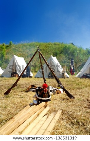 Reconstructed french Napoleonic war camp - bivouac