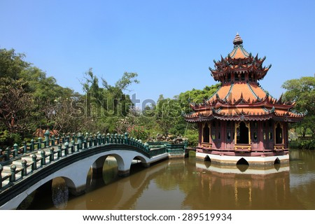 Reconstructed traditional Thai style buildings in Ancient city, Bangkok.Ancient city is the world\'s largest outdoor museum and popular tourist spot.