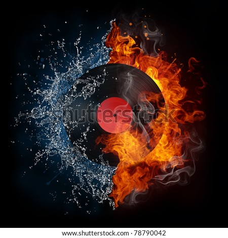 Record in fire and water. Illustration of the record enveloped in elements isolated on black background. High resolution record in fire and water image for a DJ party poster.