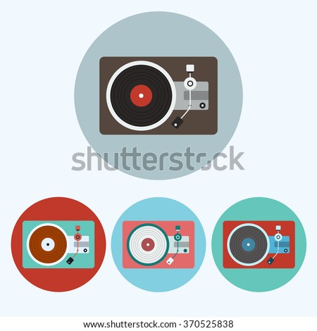 Record Player icon set. Colorful Lp Players round icons isolated on white. Digital background raster illustration.