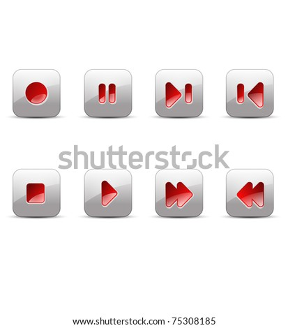 record, stop, pause, play, next, skip, back, previous, forward media buttons illustration