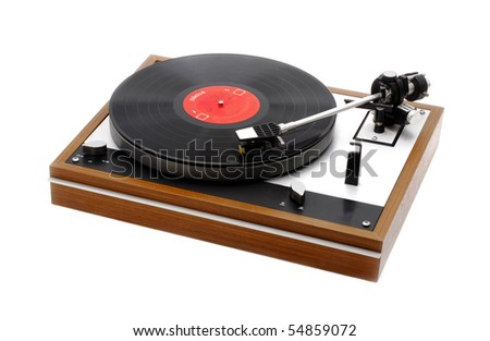Record Turntable with Record Isolated on White