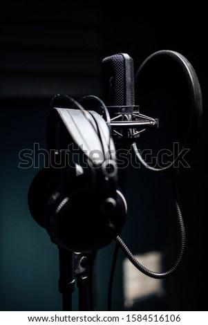 recording studio. studio microphone and headphones