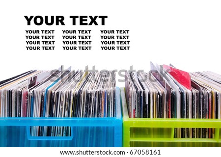 Records in plastic boxes, closeup
