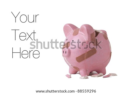 Recovering finances, Piggy bank with bandages isolated on white, copy space