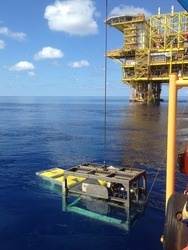 Recovering ROV to DMS at Sarawak Offshore, Malaysia, South China Sea.