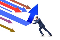 Recovery concept with businessman and charts