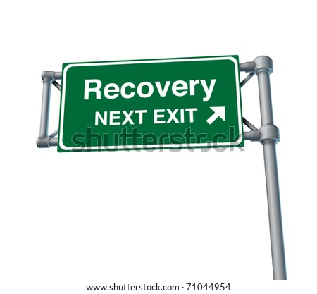 Recovery economy business health road sign