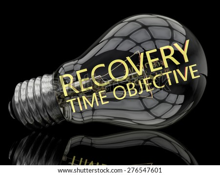 Recovery Time Objective - lightbulb on black background with text in it. 3d render illustration.