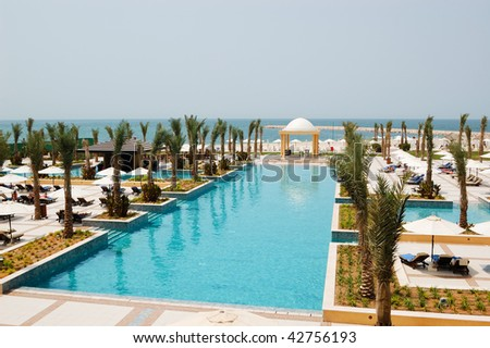 Recreation Area At Swimming Pool Dubai United Arab Emirates Stock Photo 42756193 Shutterstock