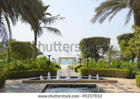 Recreation area of luxurios hotel, Dubai, United Arab Emirates