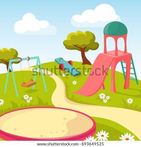 Recreation children park with play equipment illustration. Playground for game recreational