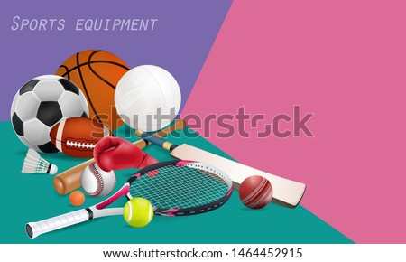 Recreation leisure sports equipment with a football, basketball, baseball, soccer, tennis ball, volleyball, boxing gloves, cricket and badminton as a symbol of healthy on green background.