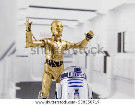 Recreation of a scene from Star Wars A New Hope: Droids R2-D2 and C-3PO escaping the Tantive IV while under Imperial attack. Figures are 6 inch Hasbro Black Series action figures
