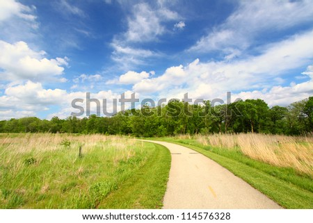 Recreation Path through the prairie at Blackhawk Springs Forest Preserve in Illinois